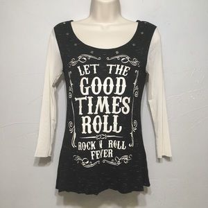 Let the Good Times Roll Black Mesh Sleeve Top